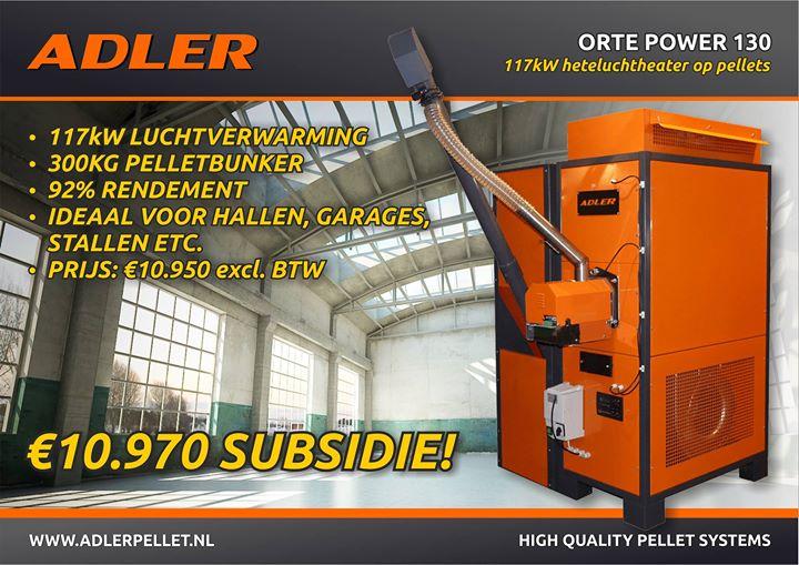 De Adler Orte 130: onze nieuwe pellet-luchtheater. Met ISDE-subsidie: GRATIS! Ideaal voor het verwarmen van bedrijfshall...