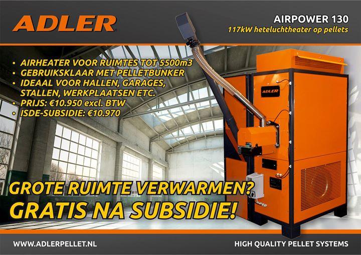 Helemaal GRATIS na subsidie: de Adler Airpower 130, onze nieuwe pellet-luchtheater voor grote ruimtes zoals bedrijfshall...